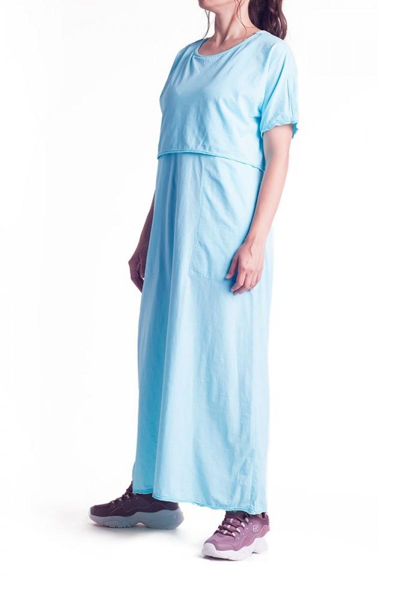 Платье арт. S200102 голубое для беременных и кормления