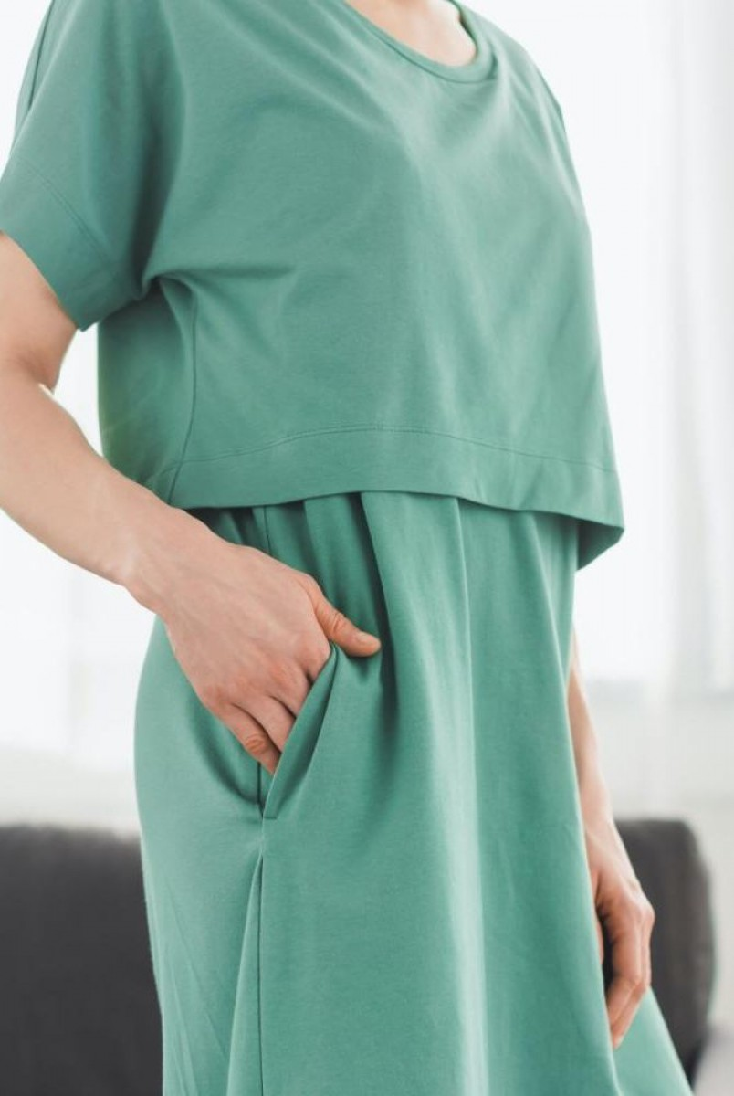 Платье арт. S200203 оливковое для беременных и кормления