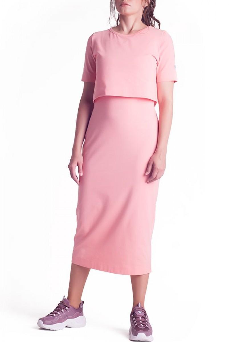 Платье арт.S200301 розовое для беременных и кормления