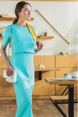 Сукня арт.S200302 блакитна для вагітних і годування