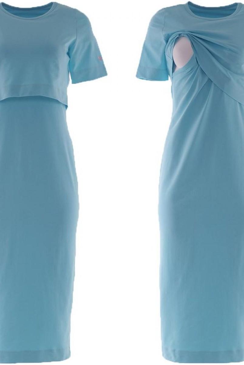 Платье арт.S200302 голубое для беременных и кормления