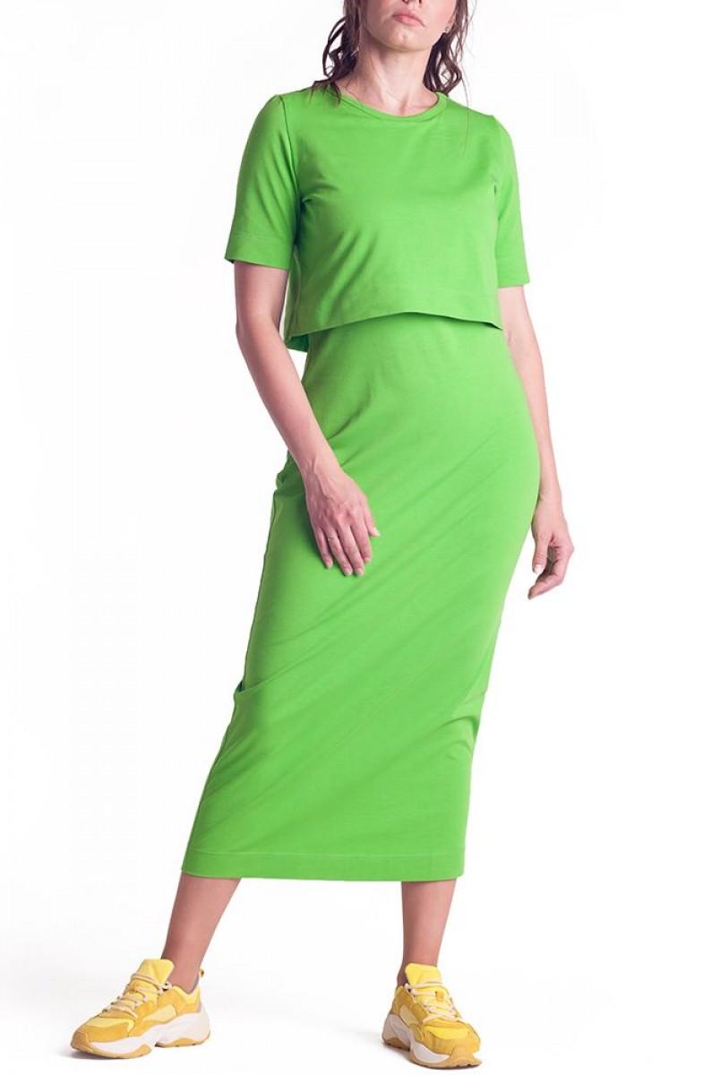 Платье арт.S200304 салатовое для беременных и кормления