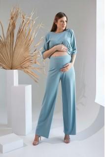 Брюки 2129 1531 зелено-голубой для беременных