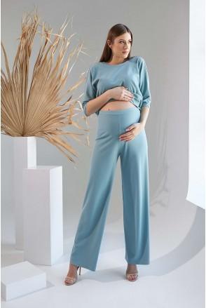 Штани 2129 1531 зелено-блакитний для вагітних