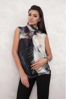 Блуза черно-бежевая 1519 0995 для беременных