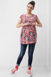 Блуза красно-белого цвета 1808 0084 для беременных и кормления
