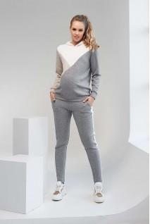Спортивний костюм з вставками 2104 (7) 1093 сірий з білою вставкою для вагітних та годування
