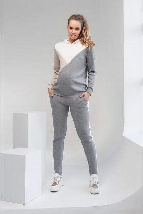 Спортивный костюм с вставками 2104(7) 1093 серый с белой вставкой для беременных и кормления