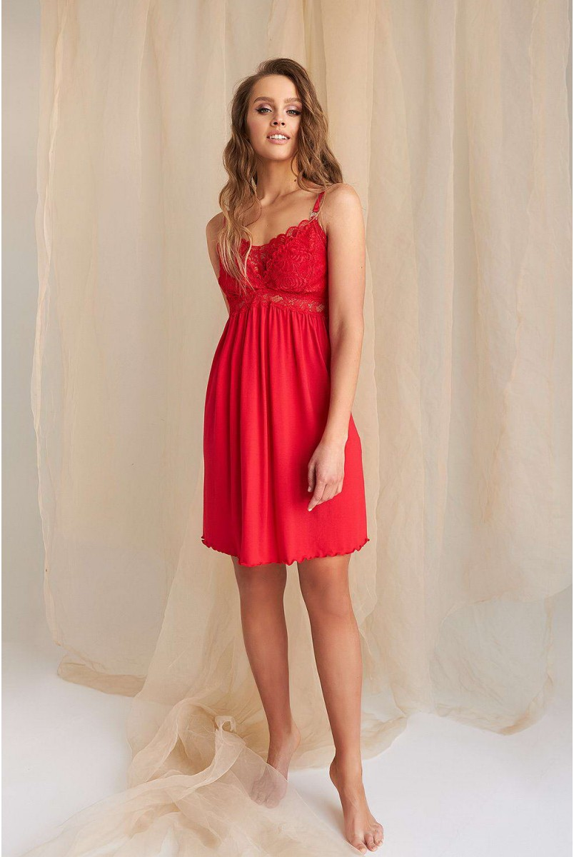 Нічна сорочка 2116 1459 червоний для вагітних і годування