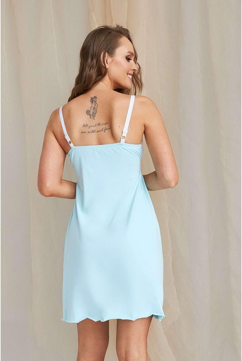 Нічна сорочка 2066 1454 блакитний для вагітних і годування