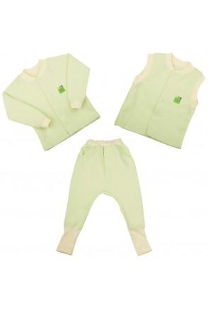 Детский комплект 3в1 Еко Пупс Jersey Style капитон (кофта, брюки, жилетка) (Салатовый)