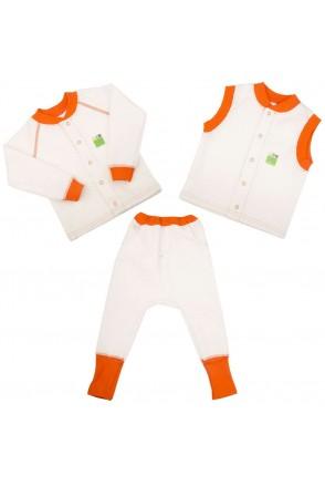 Детский комплект 3в1 Еко Пупс Jersey Style капитон (кофта, брюки, жилетка) (Молочный)