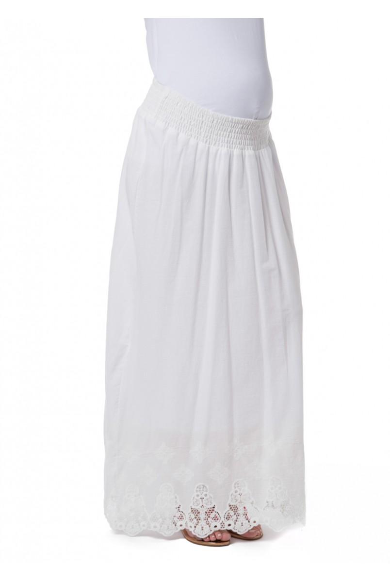 """Спідниця """"Ульяна"""" біла з квітами для вагітних"""