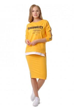"""Костюм с юбкой утепл. """"Викки"""" желтый для беременных и кормящих"""