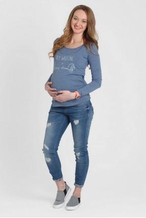 """Лонгслів """"Тутсі"""" синій меланж для вагітних та годування"""