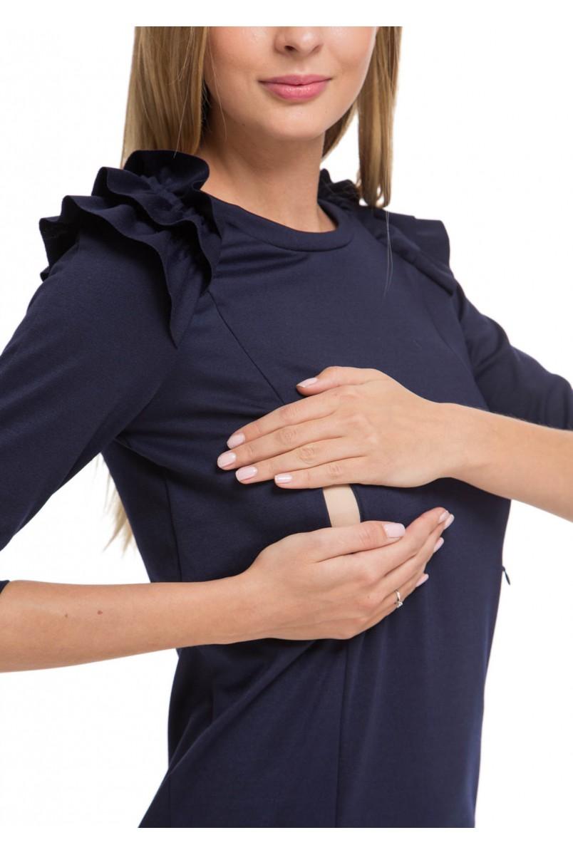 """Платье """"Дендри"""" темно-синее для беременных и кормящих"""