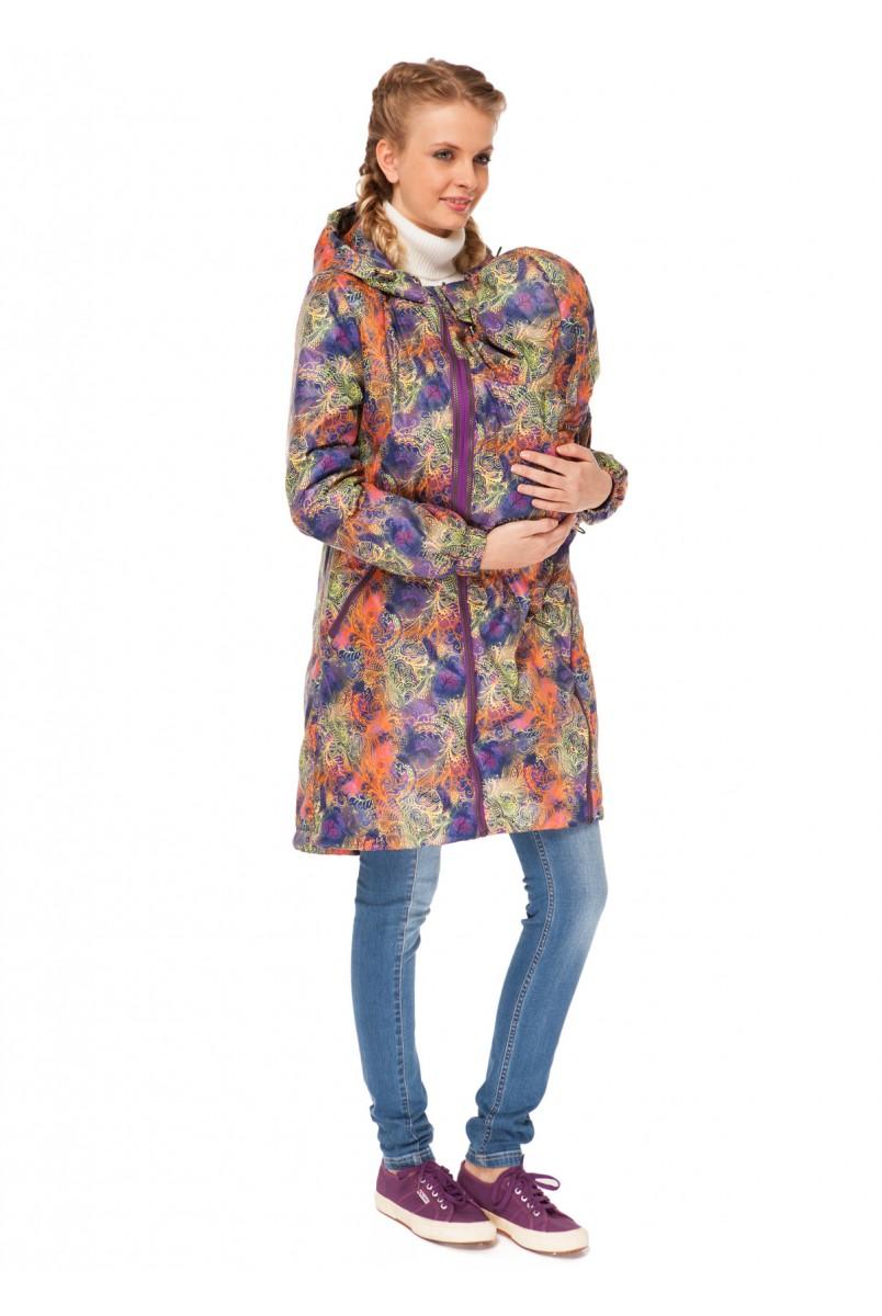 """Куртка деміс. 3в1 """"Брітні"""" візерунки на фіолеті для вагітних і слінгоносіння"""