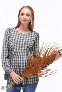 Блуза Marcela клетка серо-зеленая для беременных и кормящих