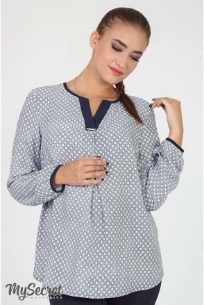 Блузка Kameya синий орнамент на молоке для беременных