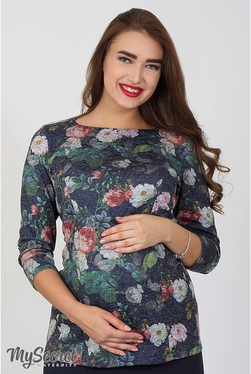 Джемпер Alberta принт розы на синем меланже для беременных и кормящих