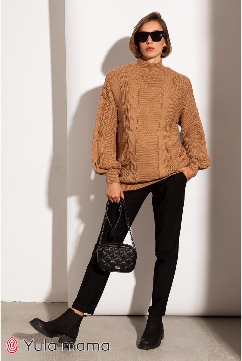 Тёплые брюки-чинос для беременных Юла мама Fiona TR-40.121 черный