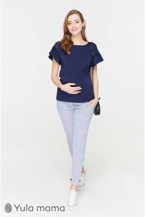 Брюки Melani TR-29.011 голубые в белую полосочку для беременных
