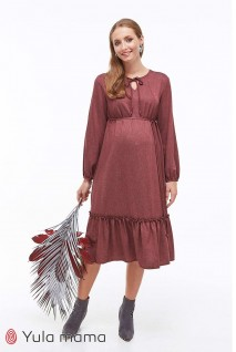Платье Monice бордовый меланж для беременных и кормящих