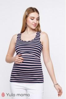 Майка Miley крупная сине-белая полоска с красными полосочками для беременных и кормящих