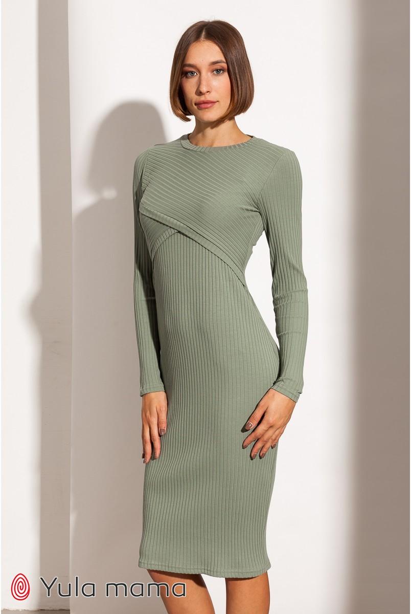 Платье для беременных и кормления Юла мама Lily new DR-31.012 оливка