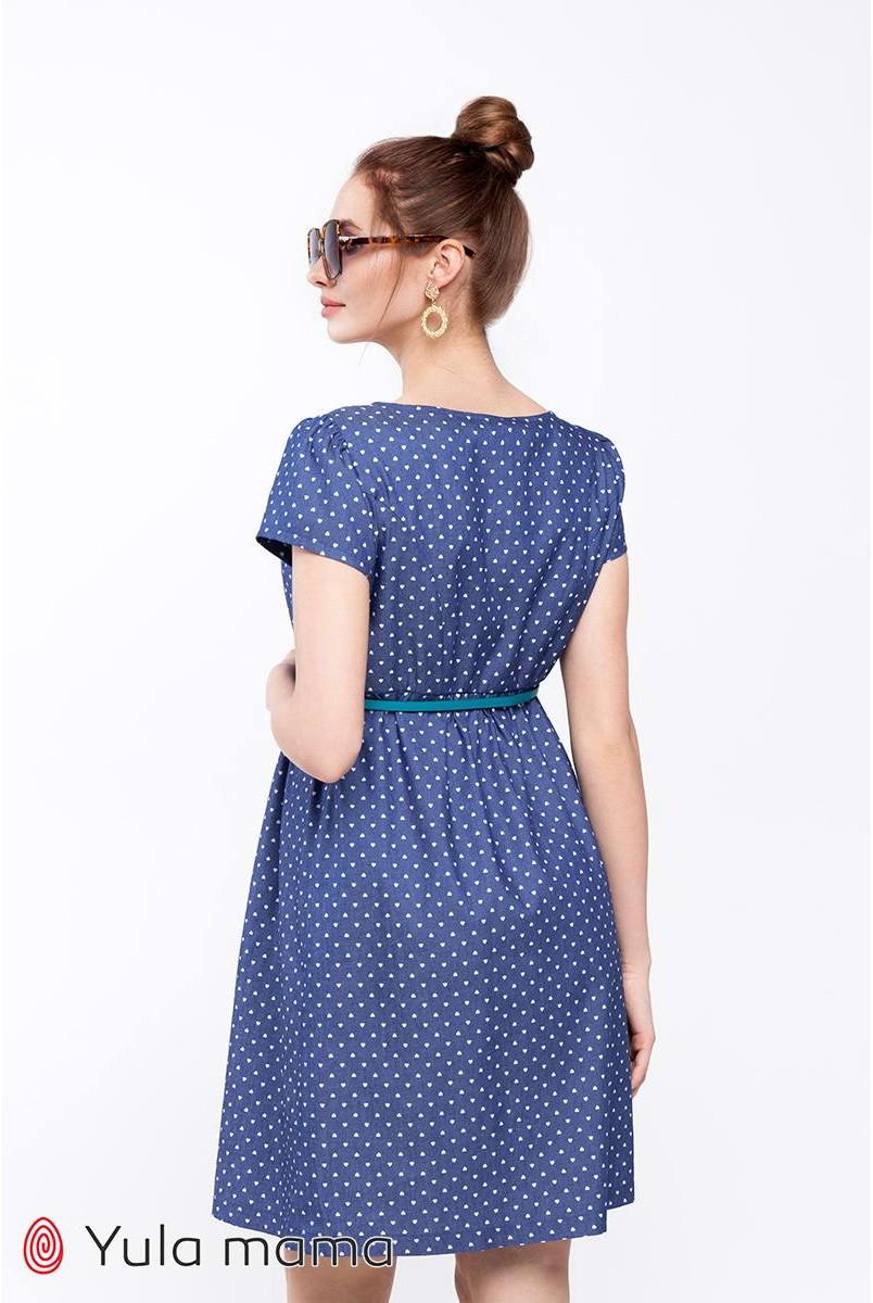 Сукня Celena джинсово-синій в сердечко для вагітних та годування