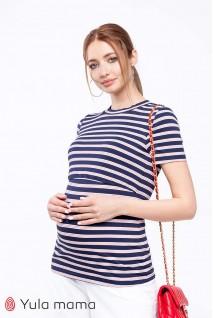 Футболка Zarina крупная сине-белая полоска с красными полосочками для беременных и кормящих