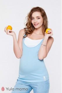 Майка Tilla голубой с белым для беременных и кормящих