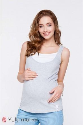 Майка Tilla серый меланж с белым для беременных и кормления
