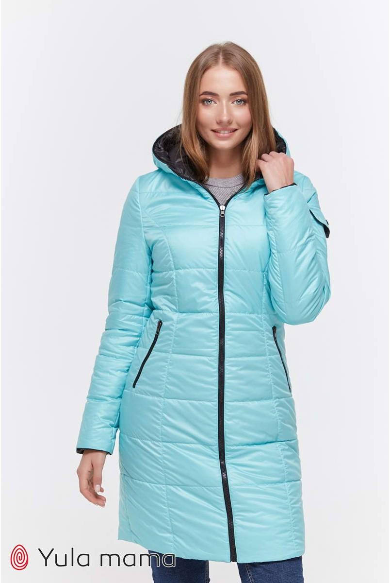 Зимнее двухстороннее пальто Kristin (черный с аквамарином) для беременных