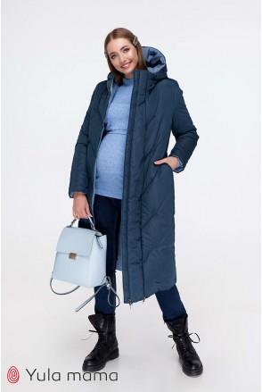 Зимнее двухстороннее пальто Tokyo (синий + голубой) для беременных