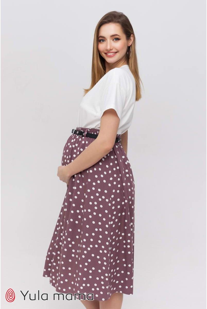 Спідниця Edna капучіно в горошок для вагітних