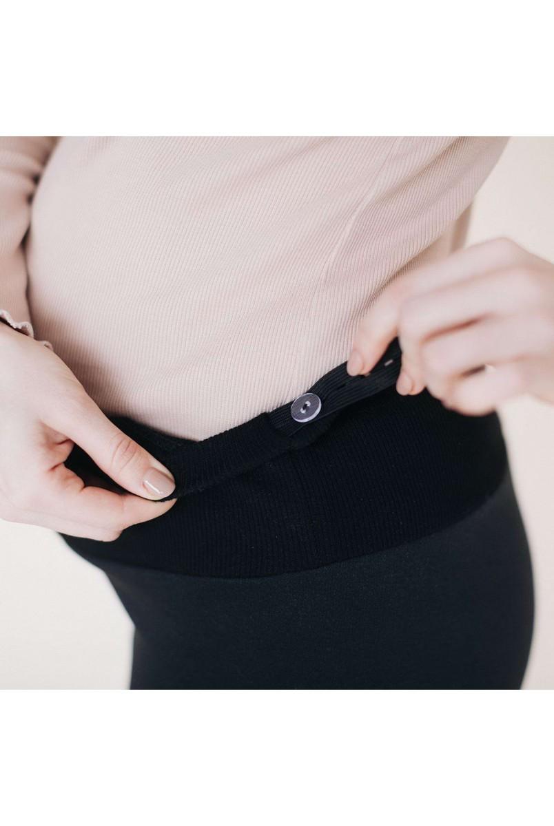 Легінси утеплені чорні для вагітних
