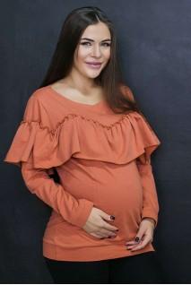 Свитшот с рюшами Терракот для беременных и кормления