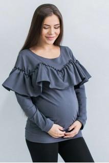 Свитшот с рюшами Темно-серый для беременных и кормления