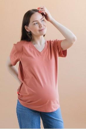 Футболка з V-подібним вирізом для вагітних і годування теракот