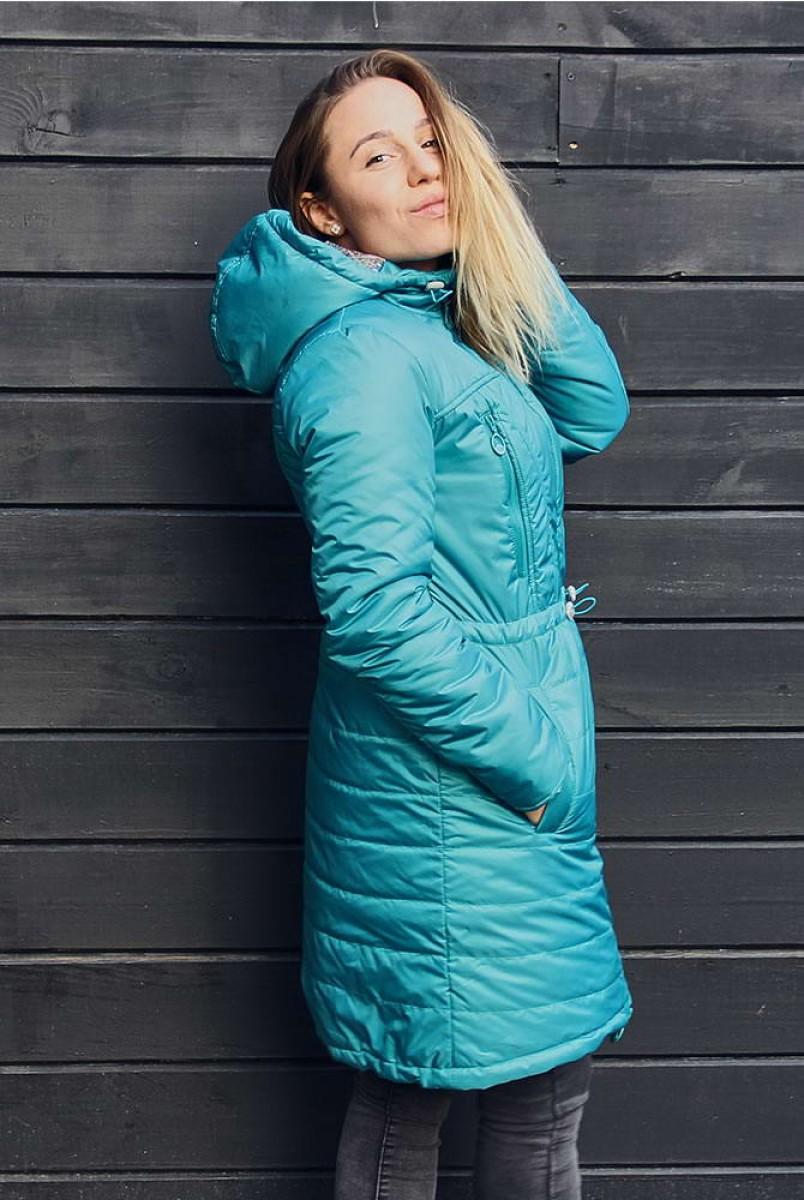 Зимнее пальто 2 в 1 Бирюза для беременных