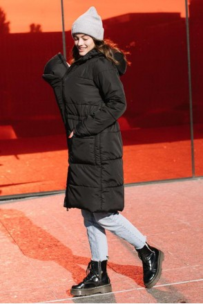 Зимняя слингокуртка 3 в 1 Черный для беременных и слингоношения
