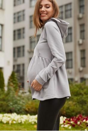 Худи для беременных и кормления с капюшоном Lullababe Malta LB06ML125 стальной