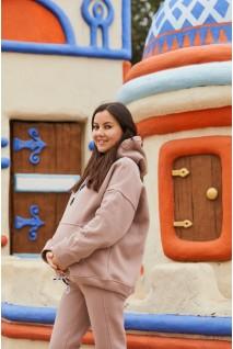 Худи Buffalo (зима) оверсайз бежевый для беременных