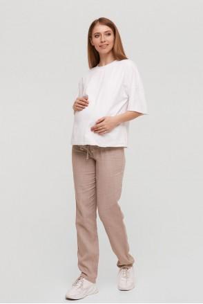 Лляні штани Doha бежевий для вагітних
