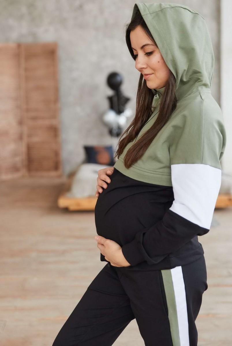 Бавовняний костюм Leganеs хакі з чорним для вагітних і годування