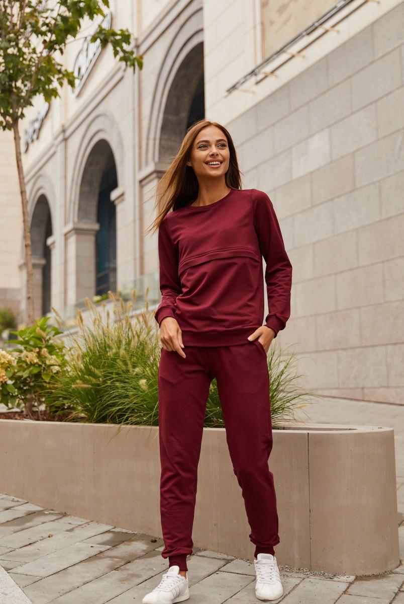 Спортивный костюм для беременных и кормления Lullababe Detroit LB07DT165 темно-бордовый
