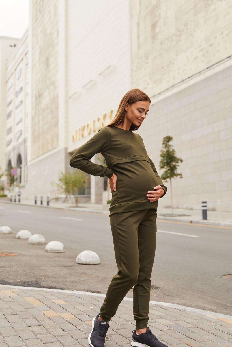 Спортивный костюм для беременных и кормления Lullababe Detroit LB07DT166 темный хаки