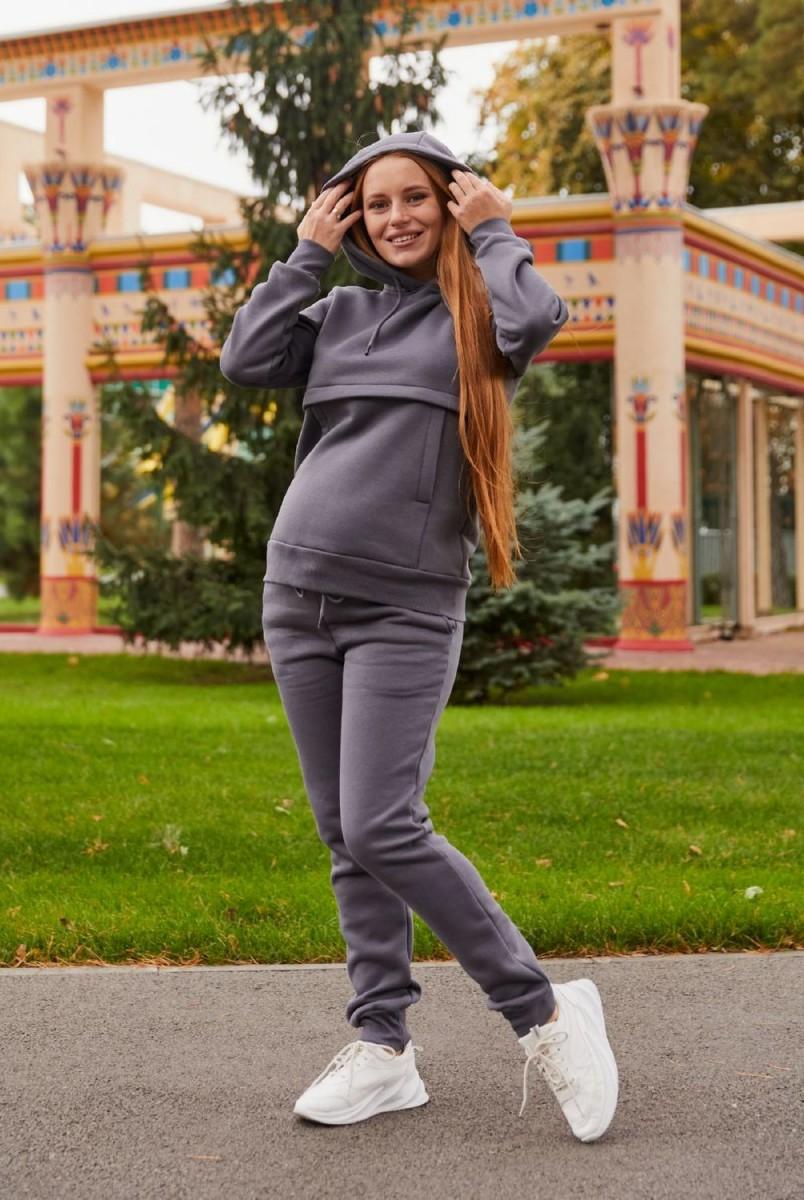 Теплый спортивный костюм для беременных и кормления Lullababe Kutaisi LB02KT109 графитовый