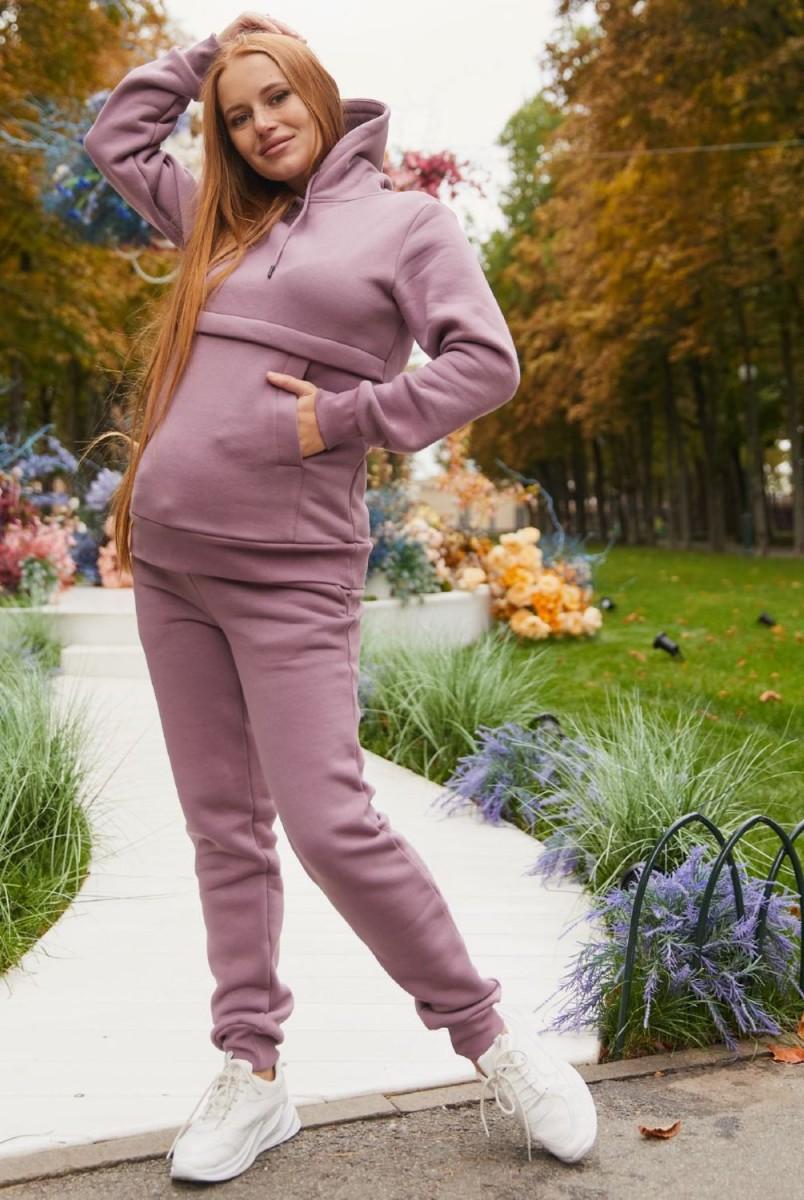 Теплый спортивный костюм для беременных и кормления Lullababe Kutaisi LB02KT143 сиреневый
